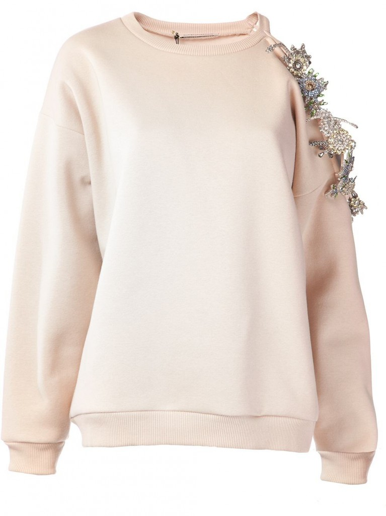 Christopher Kane cut out shoulder crystal embellished sweatshirt