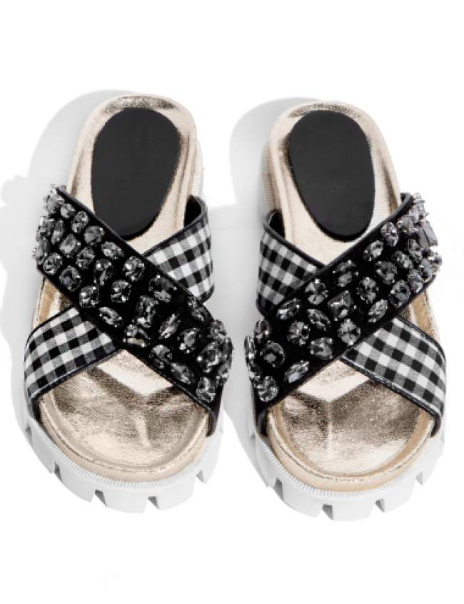 Hot Pick: Pixie Market Bling & Gingham Slide Sandals